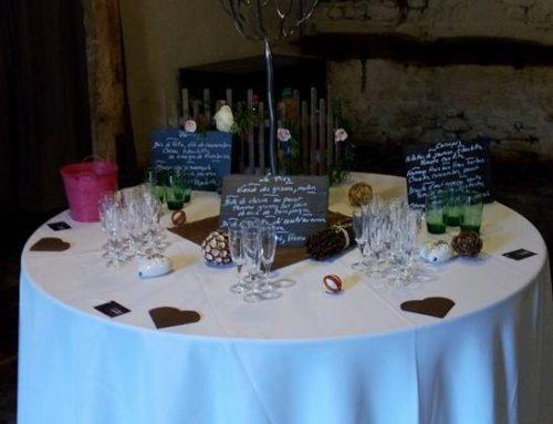 Décoration table ronde pour vin d'honneur